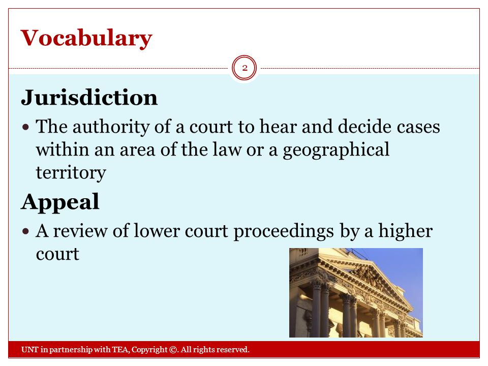 Vocabulary Jurisdiction Appeal