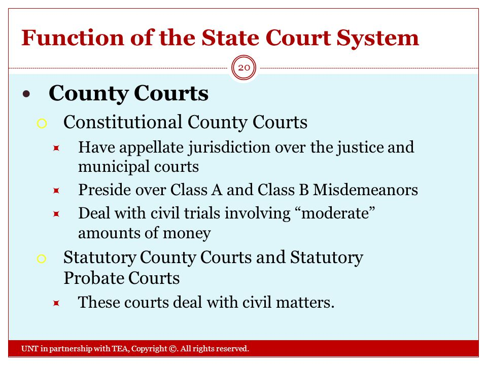 Function of the State Court System