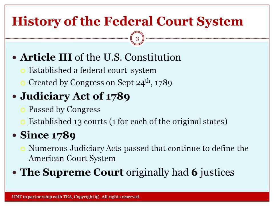 History of the Federal Court System