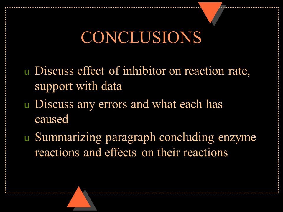CONCLUSIONS Discuss effect of inhibitor on reaction rate, support with data. Discuss any errors and what each has caused.