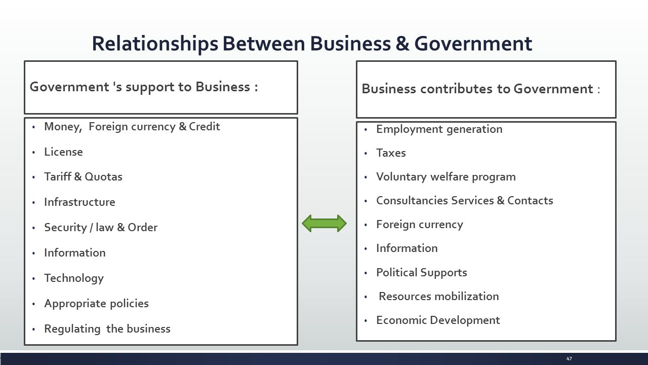 relationship between government and business
