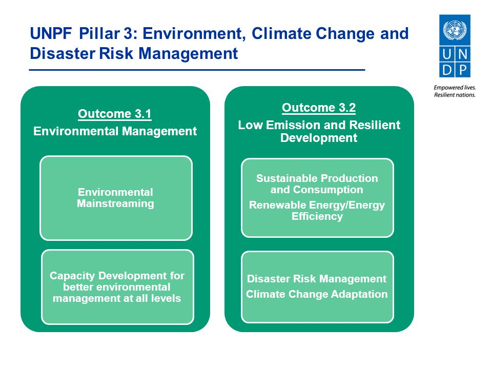 UNPF Pillar 3: Environment, Climate Change and Disaster Risk Management
