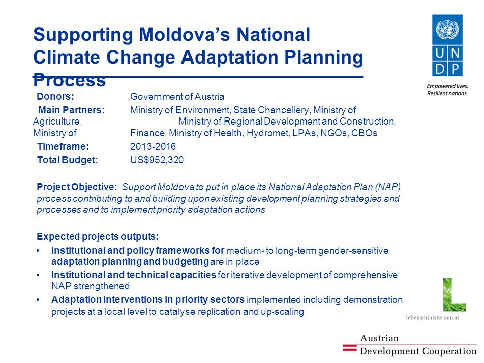 Supporting Moldova's National Climate Change Adaptation Planning Process