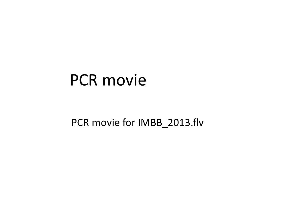 PCR movie PCR movie for IMBB_2013.flv