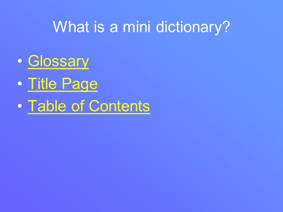 What is a mini dictionary