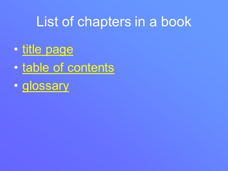 List of chapters in a book