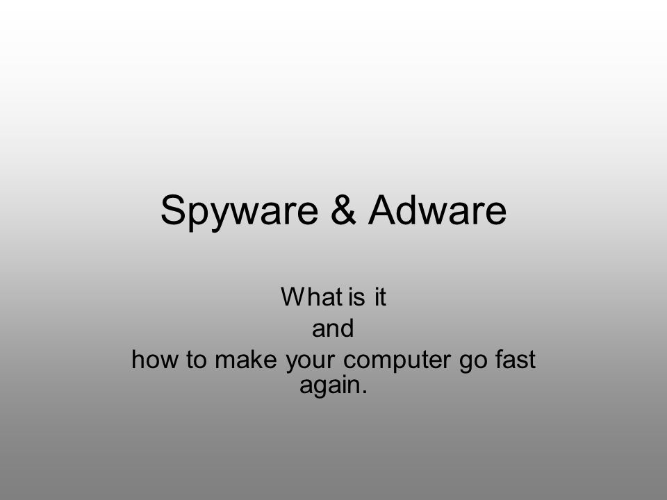 What is it and how to make your computer go fast again.