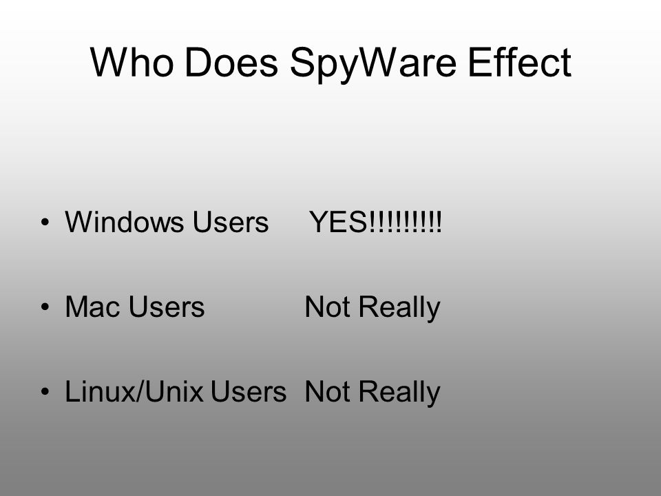 Who Does SpyWare Effect
