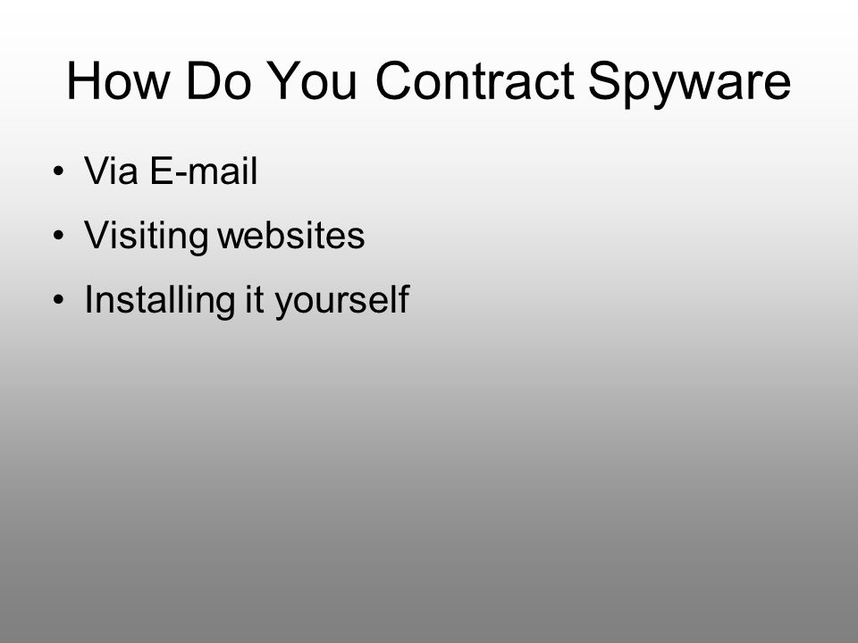 How Do You Contract Spyware