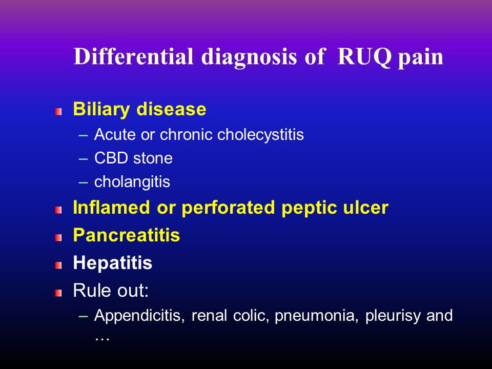 Differential diagnosis of RUQ pain
