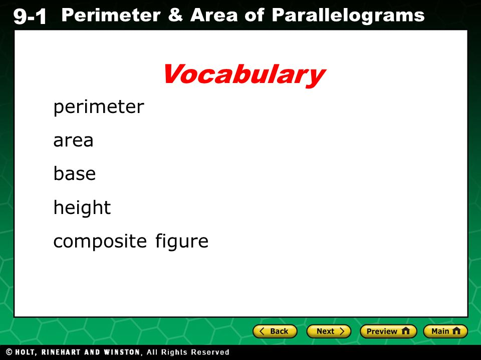Vocabulary perimeter area base height composite figure