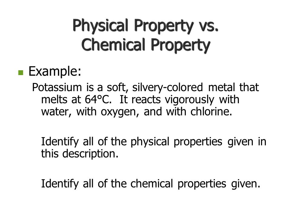 List Of Physical And Chemical Property