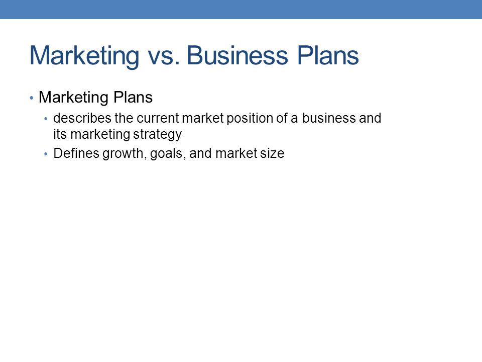 Marketing vs. Business Plans
