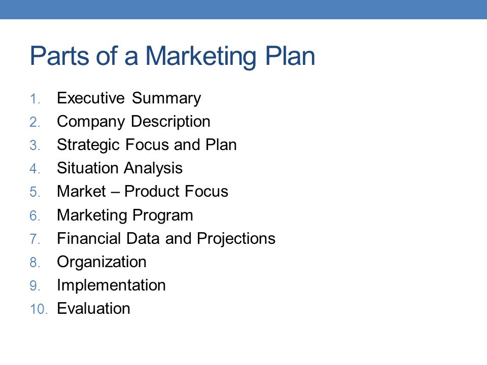 Parts of a Marketing Plan