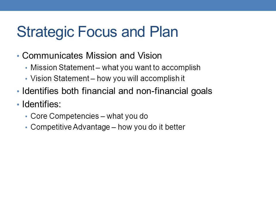 Strategic Focus and Plan