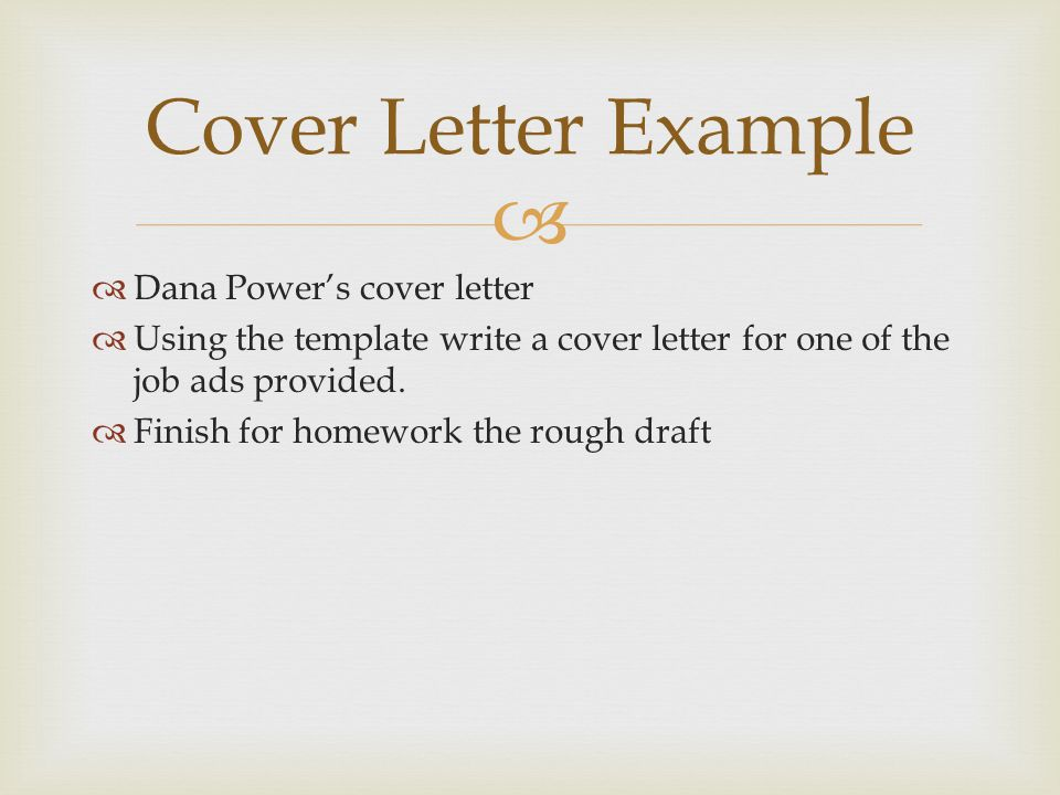 Cover Letter Example Dana Power's cover letter