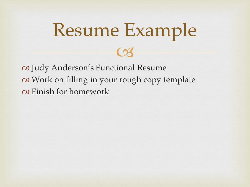 Resume Example Judy Anderson's Functional Resume