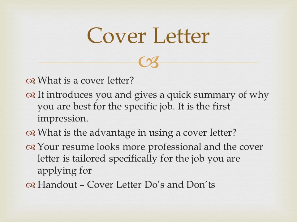 Cover Letter What is a cover letter
