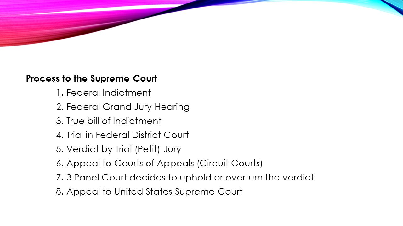 Process to the Supreme Court 1. Federal Indictment 2