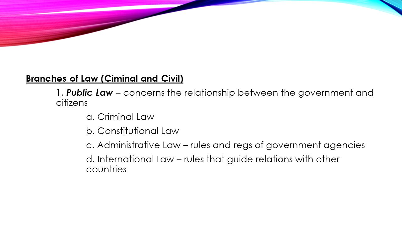 Branches of Law (Ciminal and Civil) 1
