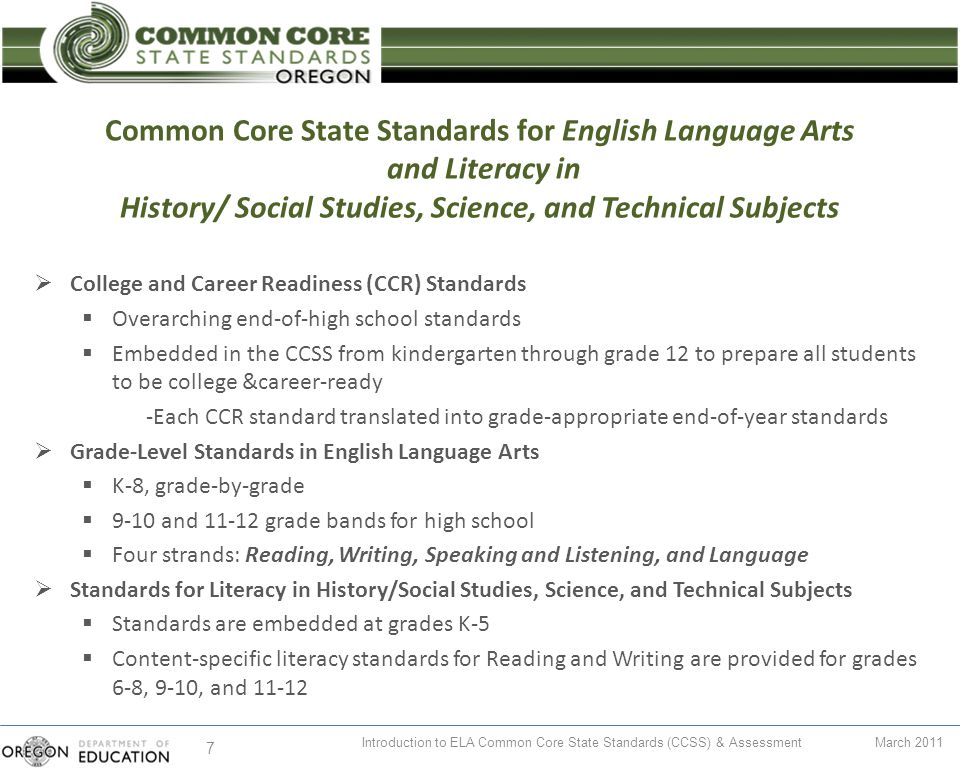 Common Core State Standards For English Language Arts And Literacy In History Social Studies Science And Technical Subjects Welcome And Announcements