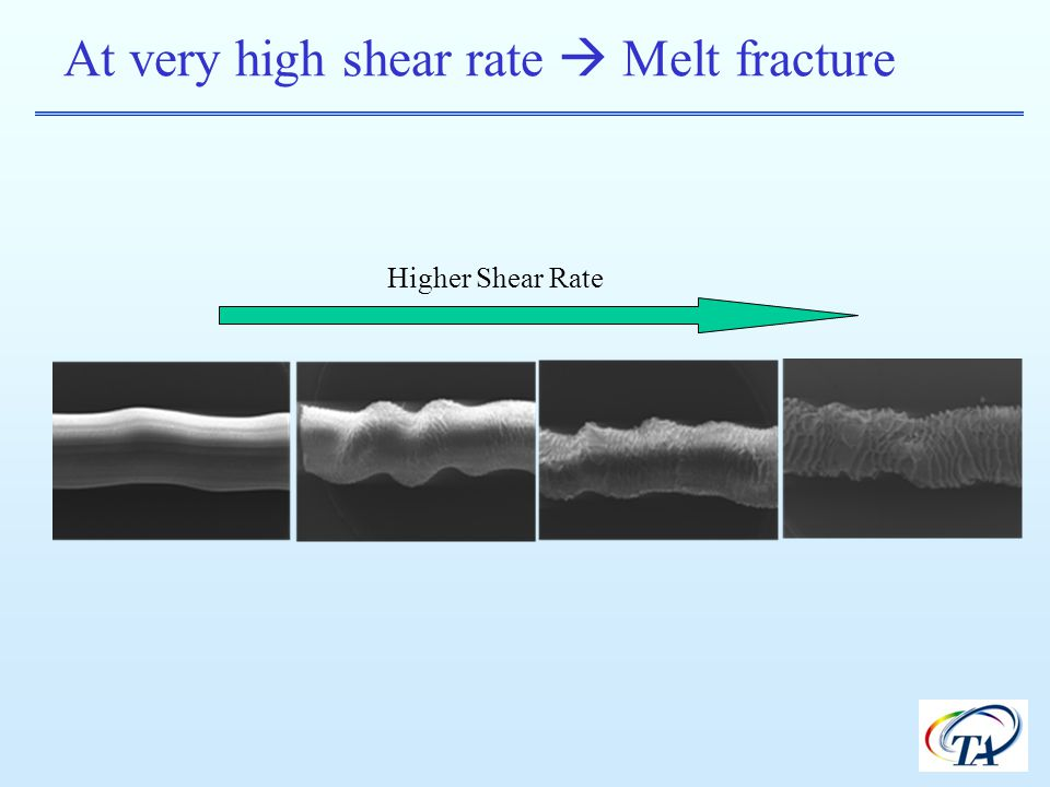 At very high shear rate  Melt fracture