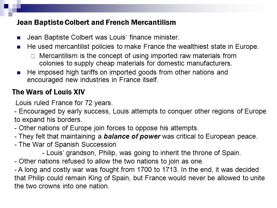 Jean Baptiste Colbert and French Mercantilism