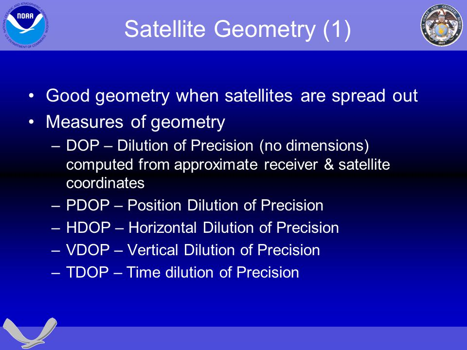 Satellite Geometry (1) Good geometry when satellites are spread out