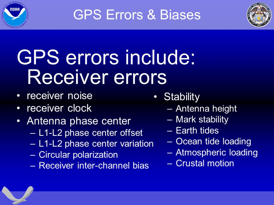 GPS errors include: Receiver errors