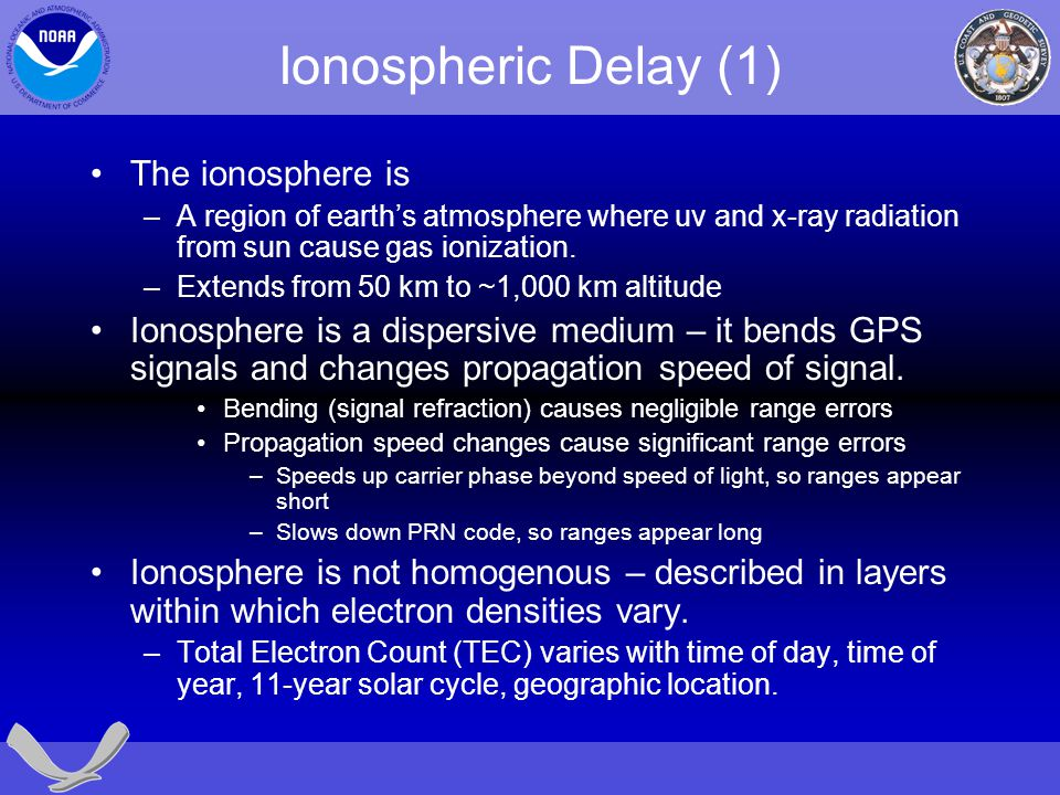 Ionospheric Delay (1) The ionosphere is