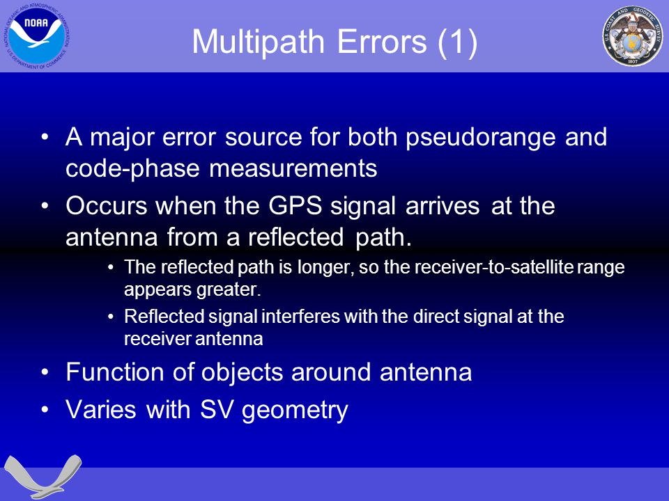 Multipath Errors (1) A major error source for both pseudorange and code-phase measurements.