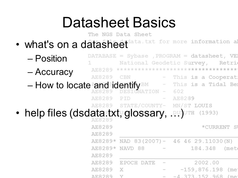 Datasheet Basics what s on a datasheet