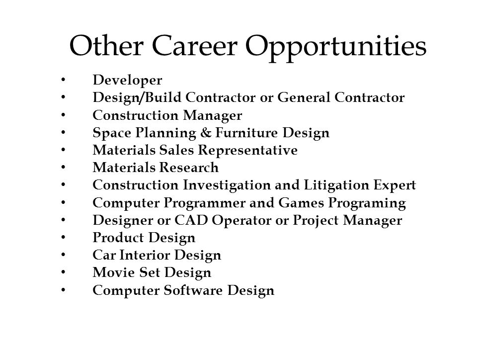 23 Other Career Opportunities