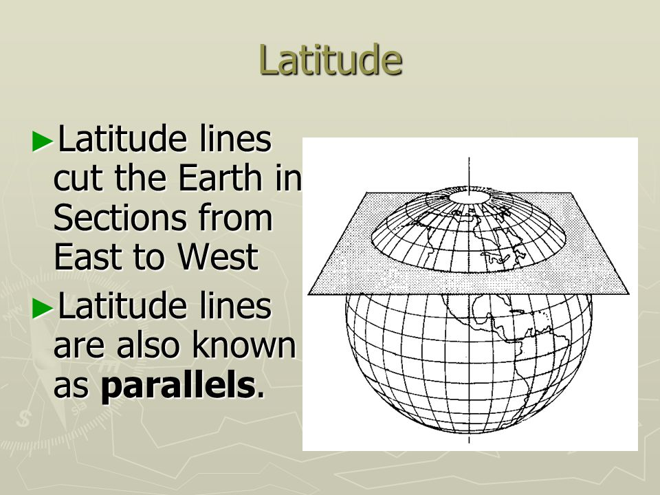 Latitude Latitude lines cut the Earth in Sections from East to West