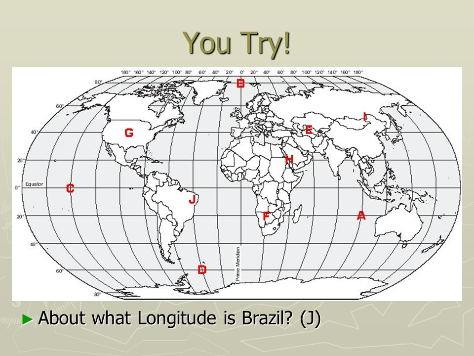 You Try! About what Longitude is Brazil (J)