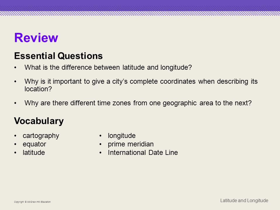 Review Essential Questions Vocabulary