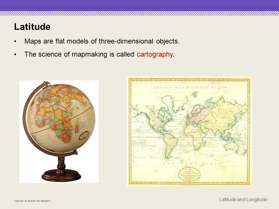 Latitude Maps are flat models of three-dimensional objects.