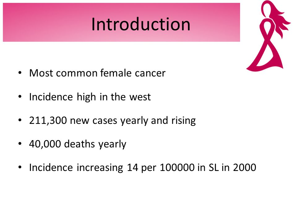 Introduction Most common female cancer Incidence high in the west