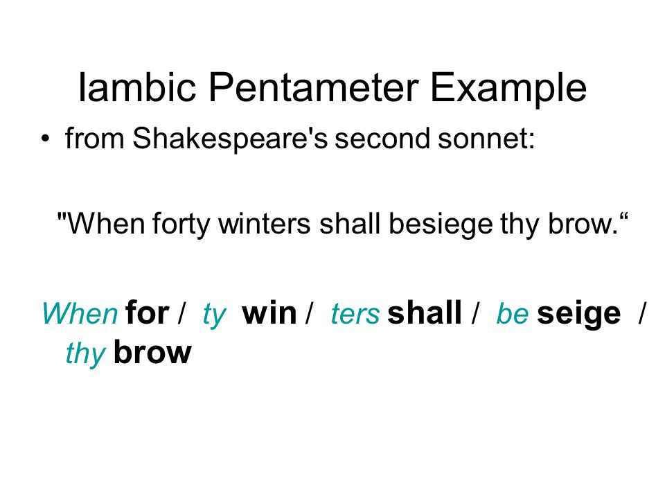 Example Of Iambic Pentameter Gallery Example Cover Letter For Resume