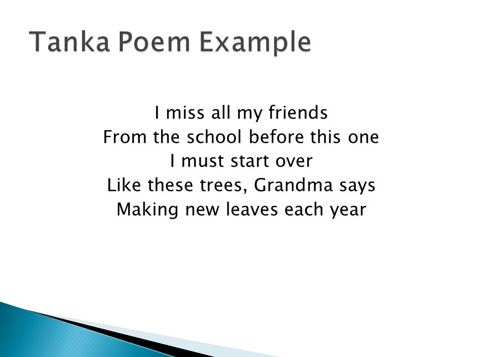 Tanka english examples.