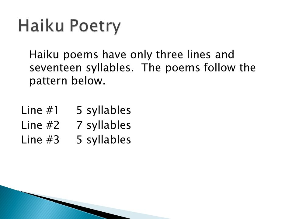 Haiku Tanka Cinquain And Diamante Ppt Video Online Download Mesmerizing What's The Pattern Of A Haiku