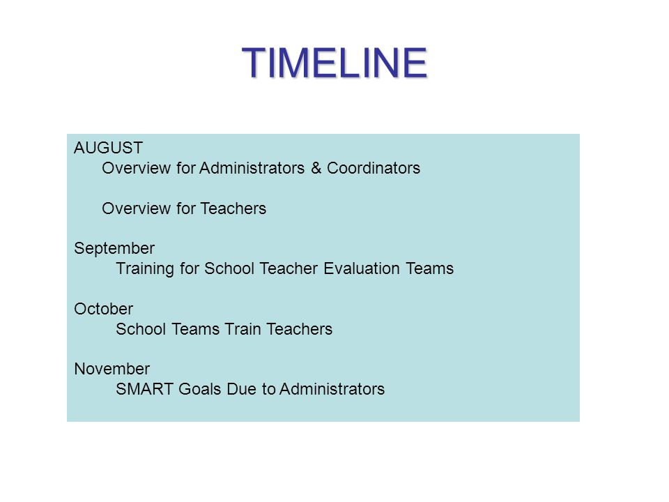 TIMELINE AUGUST Overview for Administrators & Coordinators