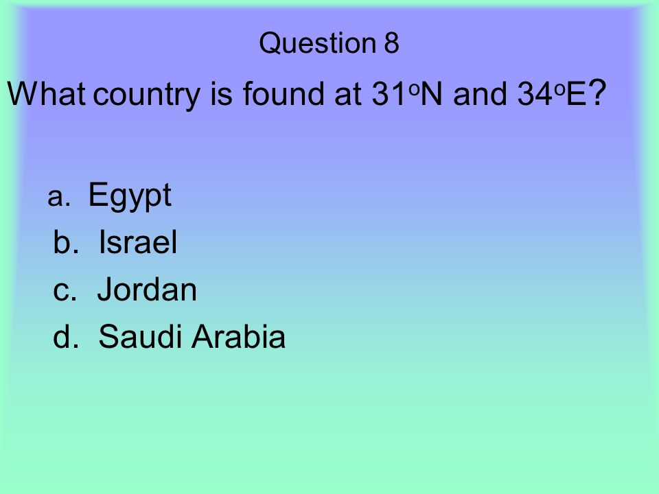 What country is found at 31oN and 34oE