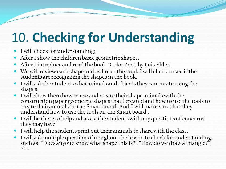 10. Checking for Understanding