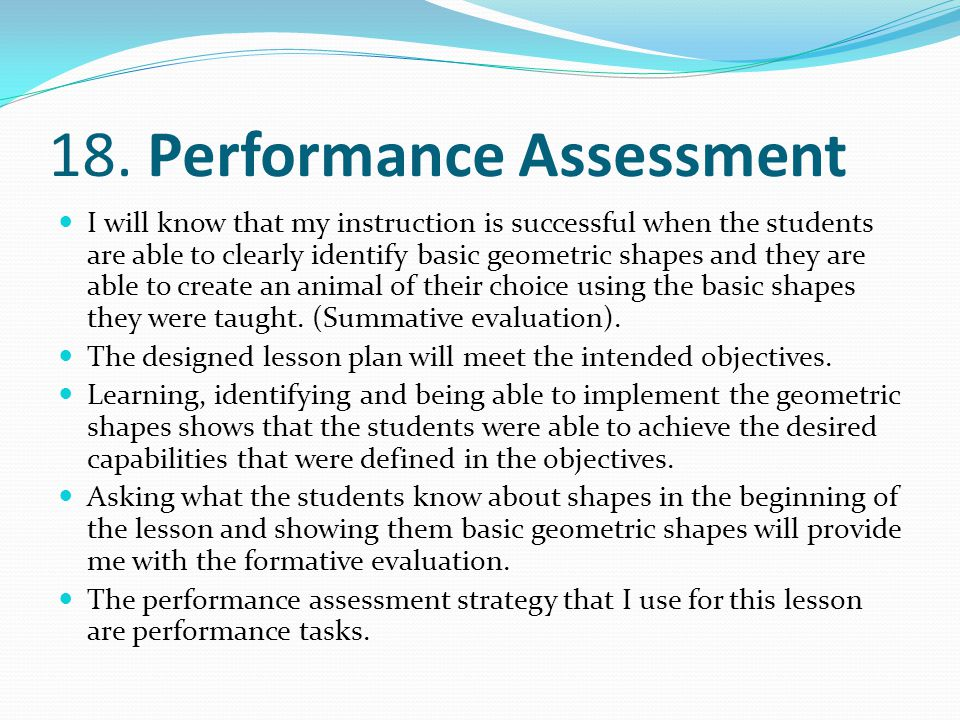 18. Performance Assessment