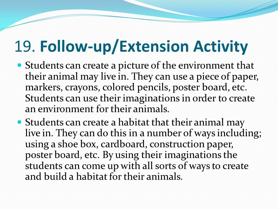 19. Follow-up/Extension Activity