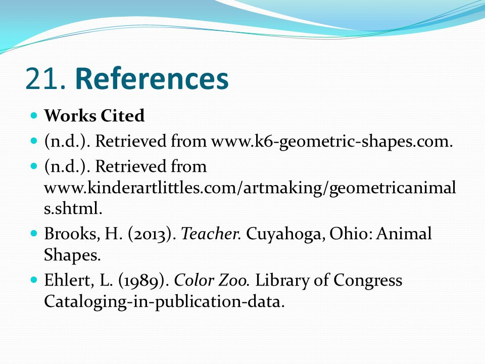 21. References Works Cited