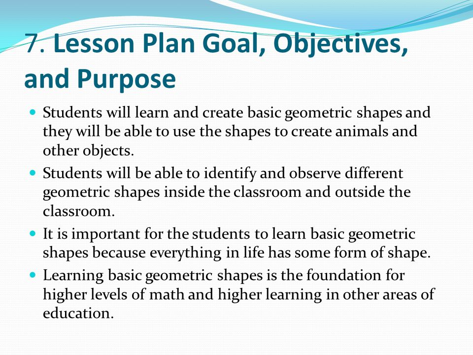 7. Lesson Plan Goal, Objectives, and Purpose
