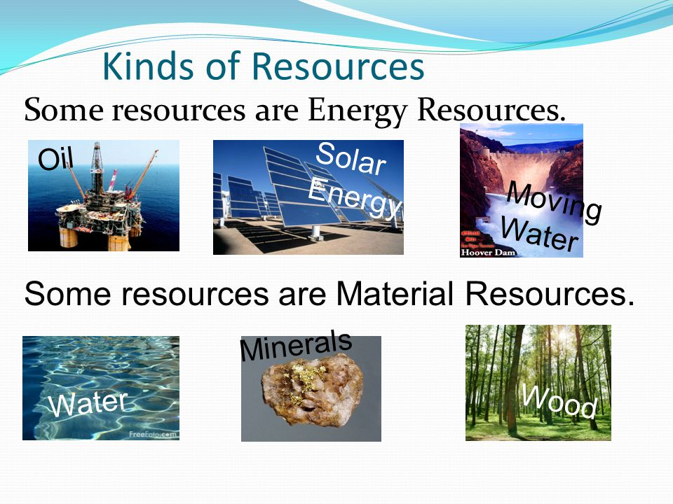 Kinds of Resources Some resources are Energy Resources.
