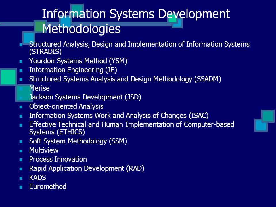 Information Systems Development Methodologies Ppt Video Online Download